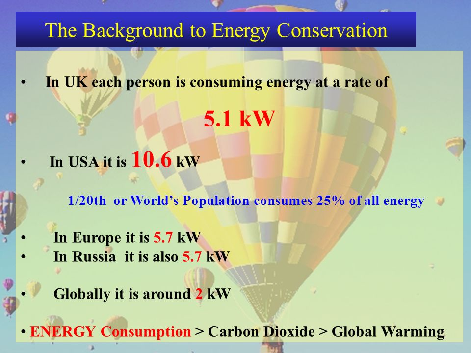 In UK each person is consuming energy at a rate of 5.1 kW In USA it is 10.6 kW 1/20th or Worlds Population consumes 25% of all energy In Europe it is 5.7 kW In Russia it is also 5.7 kW Globally it is around 2 kW ENERGY Consumption > Carbon Dioxide > Global Warming The Background to Energy Conservation