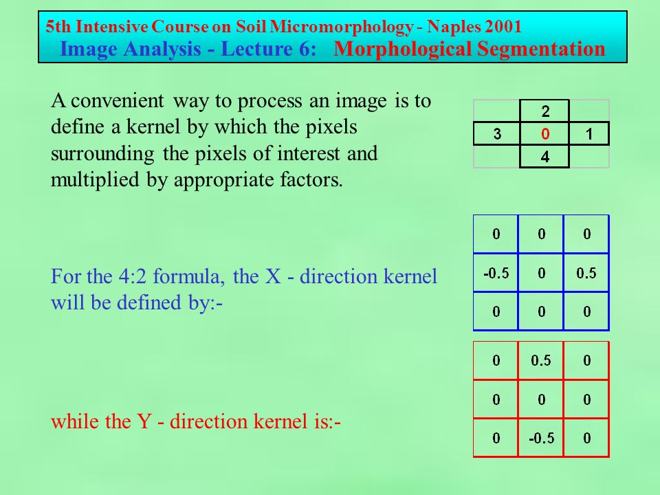 5th Intensive Course on Soil Micromorphology - Naples 2001 Image Analysis - Lecture 6: Morphological Segmentation For the 4:2 formula, the X - direction kernel will be defined by:- while the Y - direction kernel is:- A convenient way to process an image is to define a kernel by which the pixels surrounding the pixels of interest and multiplied by appropriate factors.
