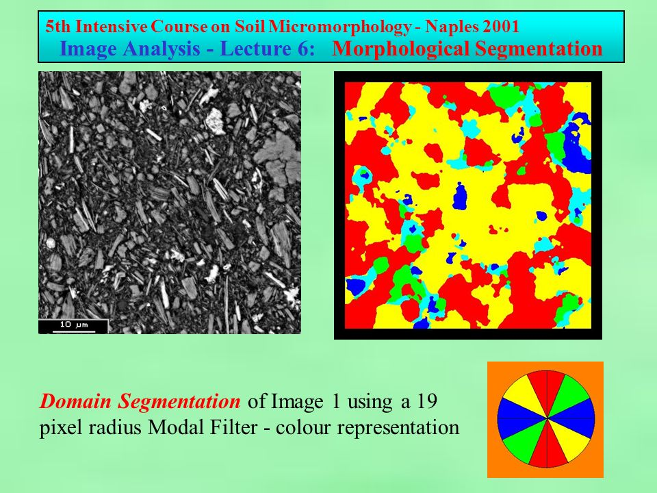 5th Intensive Course on Soil Micromorphology - Naples 2001 Image Analysis - Lecture 6: Morphological Segmentation Domain Segmentation of Image 1 using a 19 pixel radius Modal Filter - colour representation