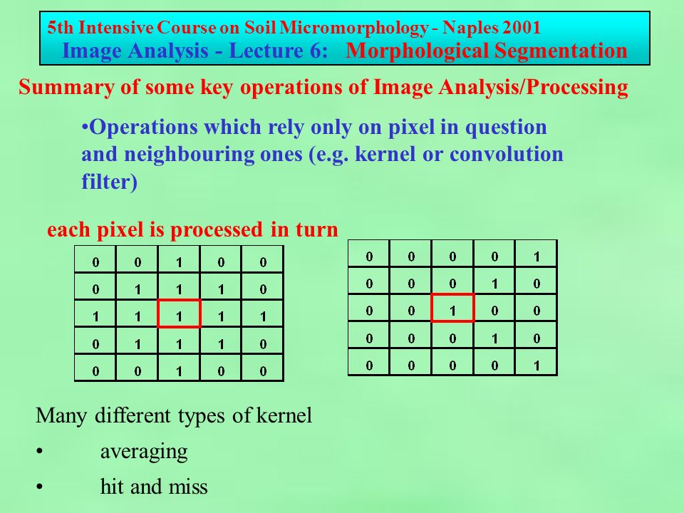 5th Intensive Course on Soil Micromorphology - Naples 2001 Image Analysis - Lecture 6: Morphological Segmentation Image 3