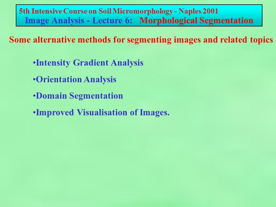 5th Intensive Course on Soil Micromorphology - Naples 2001 Image Analysis - Lecture 6: Morphological Segmentation For many images, unambiguous segmentation is not possible as the resulting image is too complex even for manual editting to ensure that particles and voids are adequately separated.