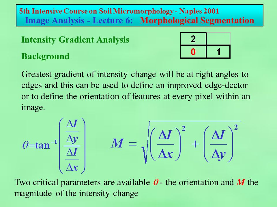 5th Intensive Course on Soil Micromorphology - Naples 2001 Image Analysis - Lecture 6: Morphological Segmentation Greatest gradient of intensity change will be at right angles to edges and this can be used to define an improved edge-dector or to define the orientation of features at every pixel within an image.