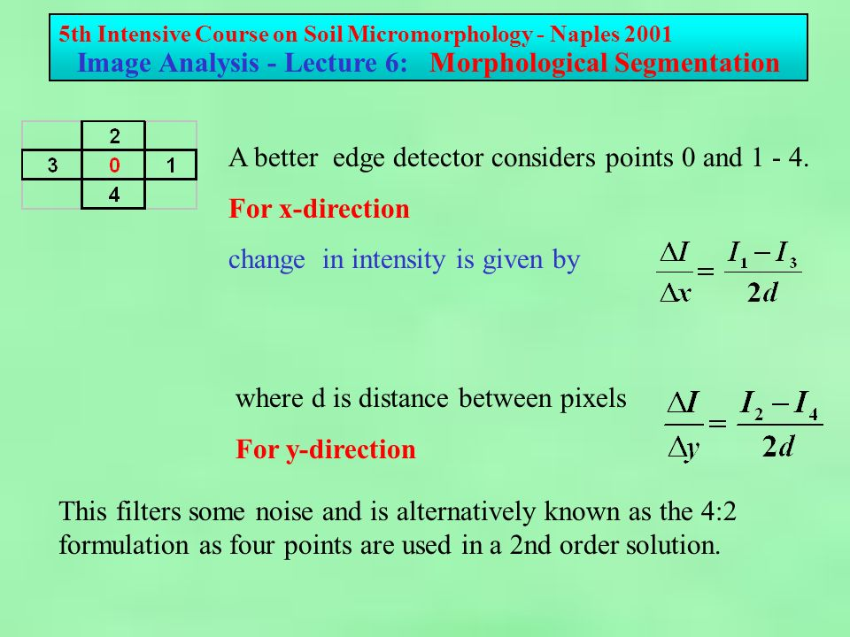 5th Intensive Course on Soil Micromorphology - Naples 2001 Image Analysis - Lecture 6: Morphological Segmentation A better edge detector considers points 0 and