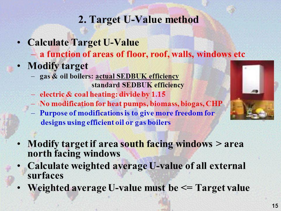2. Target U-Value method Calculate Target U-Value –a function of areas of floor, roof, walls, windows etc Modify target –gas & oil boilers: actual SED