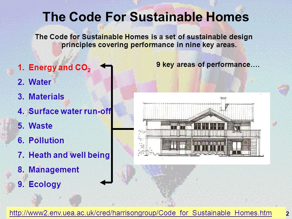 42 The Code For Sustainable Homes The Code for Sustainable Homes is a set of sustainable design principles covering performance in nine key areas.