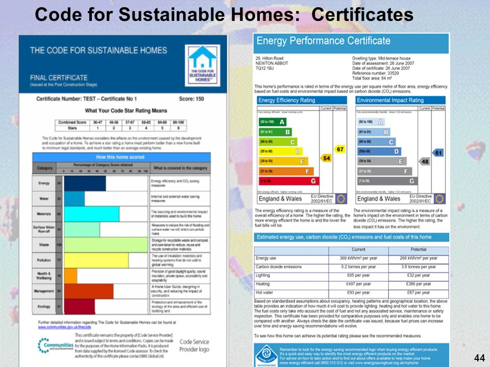 44 Code for Sustainable Homes: Certificates