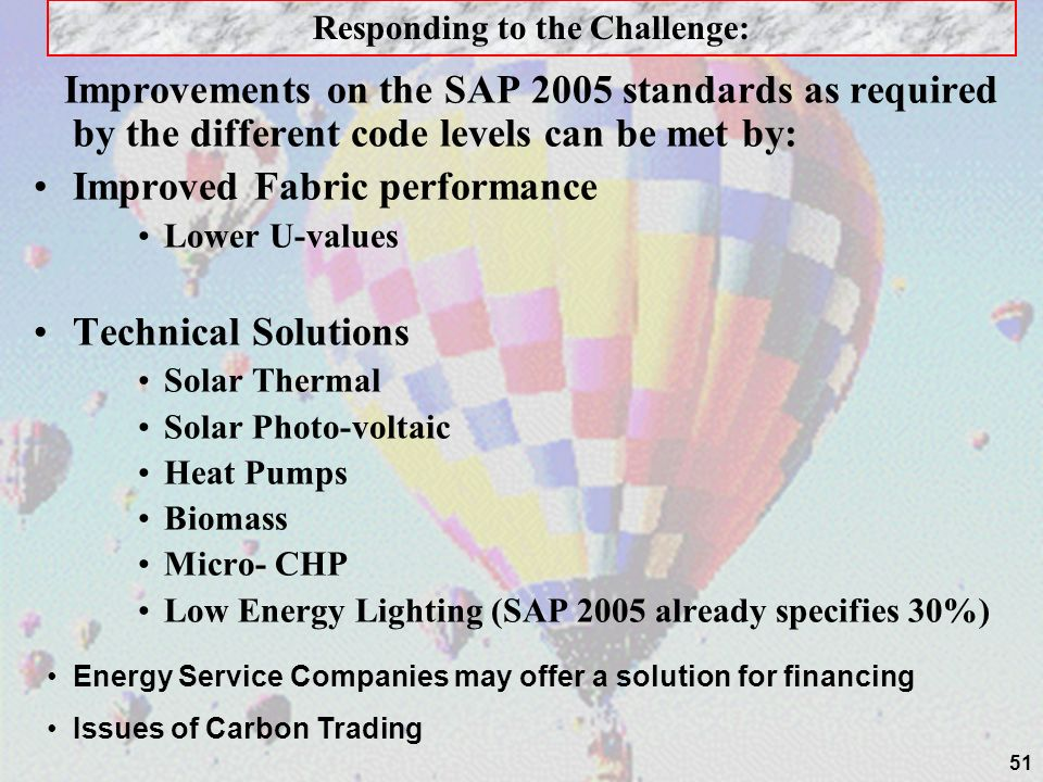 51 Improvements on the SAP 2005 standards as required by the different code levels can be met by: Improved Fabric performance Lower U-values Technical Solutions Solar Thermal Solar Photo-voltaic Heat Pumps Biomass Micro- CHP Low Energy Lighting (SAP 2005 already specifies 30%) Responding to the Challenge: Energy Service Companies may offer a solution for financing Issues of Carbon Trading