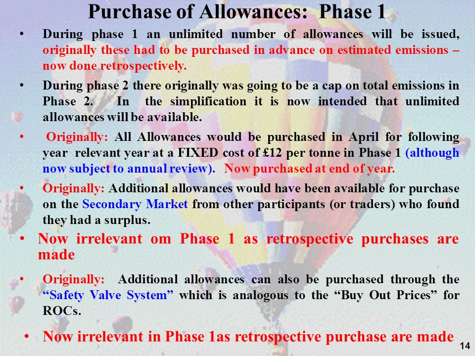 14 Purchase of Allowances: Phase 1 During phase 1 an unlimited number of allowances will be issued, originally these had to be purchased in advance on estimated emissions – now done retrospectively.