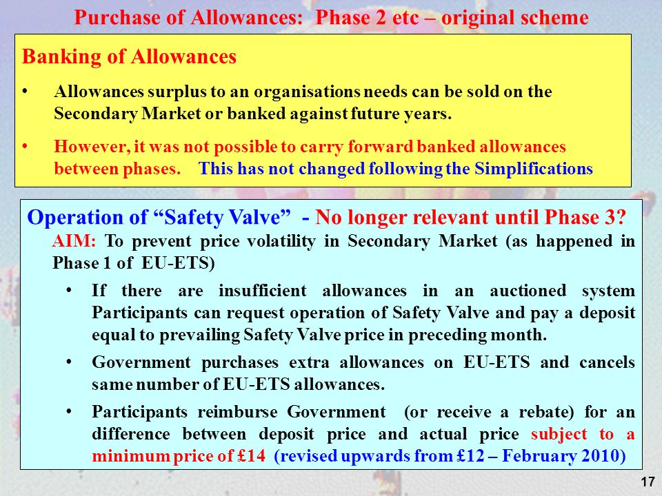 17 Purchase of Allowances: Phase 2 etc – original scheme Banking of Allowances Allowances surplus to an organisations needs can be sold on the Secondary Market or banked against future years.
