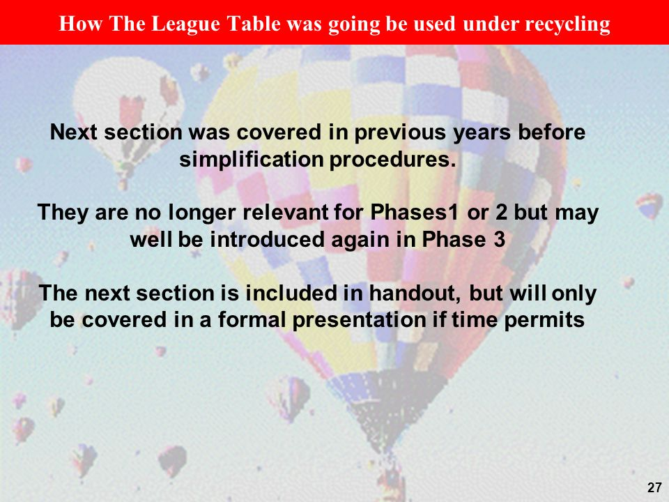 27 How The League Table was going be used under recycling Next section was covered in previous years before simplification procedures. They are no lon