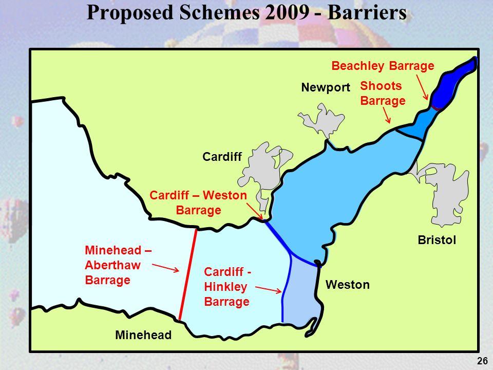 Proposed Schemes 2009 - Barriers 26 Cardiff Newport Bristol Weston Minehead Beachley Barrage Shoots Barrage Cardiff – Weston Barrage Cardiff - Hinkley