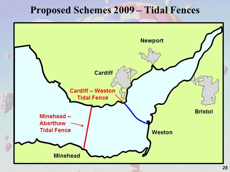 Proposed Schemes 2009 – Tidal Fences 28 Cardiff Newport Bristol Weston Minehead Cardiff – Weston Tidal Fence Minehead – Aberthaw Tidal Fence