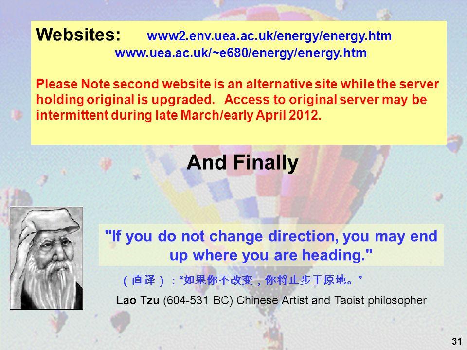 31 Websites: www2.env.uea.ac.uk/energy/energy.htm www.uea.ac.uk/~e680/energy/energy.htm Please Note second website is an alternative site while the se