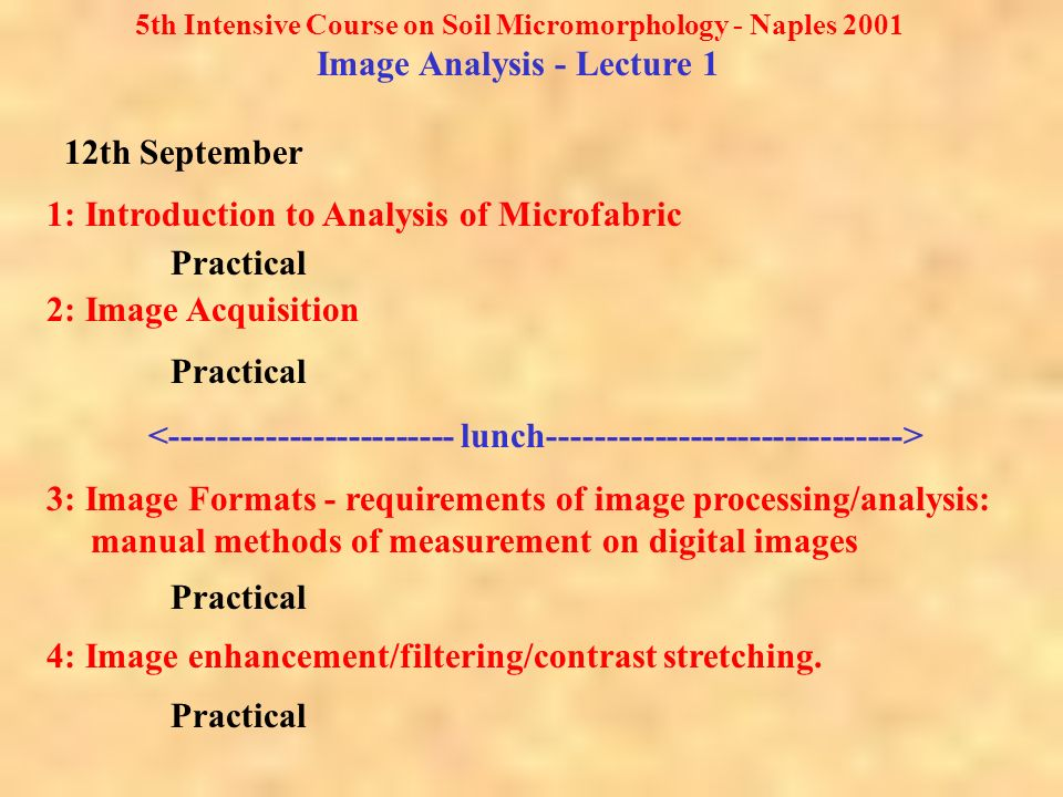 5th Intensive Course on Soil Micromorphology - Naples 2001 Image Analysis - Lecture 1 1: Introduction to Analysis of Microfabric Practical 2: Image Acquisition Practical 3: Image Formats - requirements of image processing/analysis: manual methods of measurement on digital images Practical 4: Image enhancement/filtering/contrast stretching.