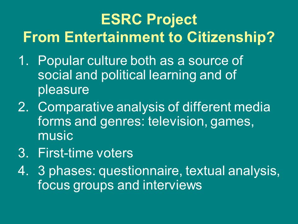 ESRC Project From Entertainment to Citizenship? 1.Popular culture both as a source of social and political learning and of pleasure 2.Comparative anal