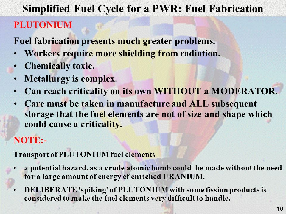 10 PLUTONIUM Fuel fabrication presents much greater problems. Workers require more shielding from radiation. Chemically toxic. Metallurgy is complex.