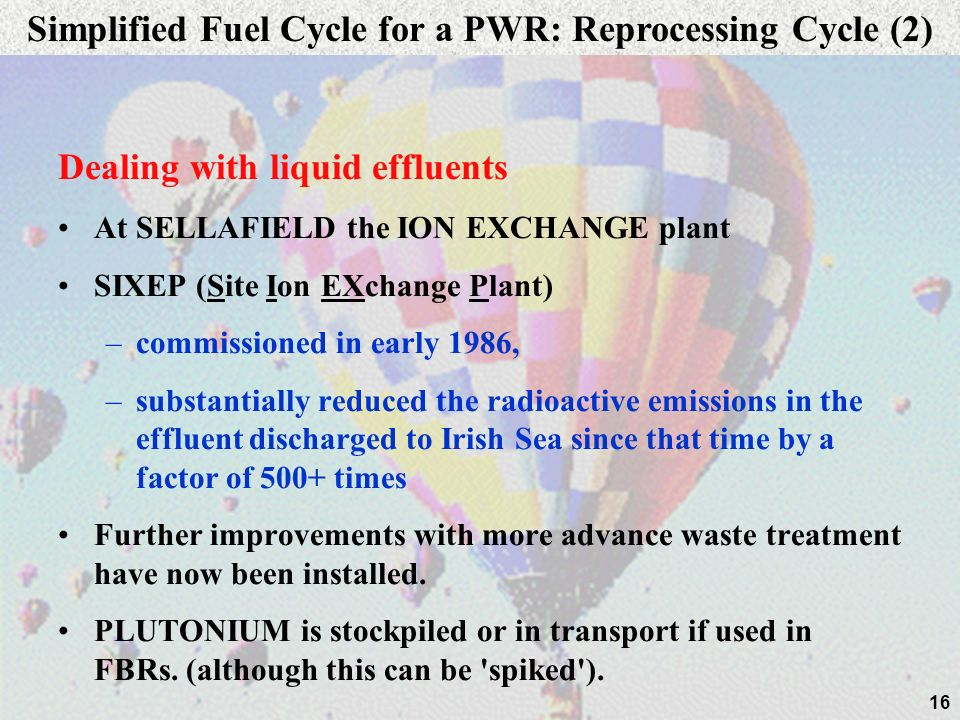 16 Dealing with liquid effluents At SELLAFIELD the ION EXCHANGE plant SIXEP (Site Ion EXchange Plant) –commissioned in early 1986, –substantially redu