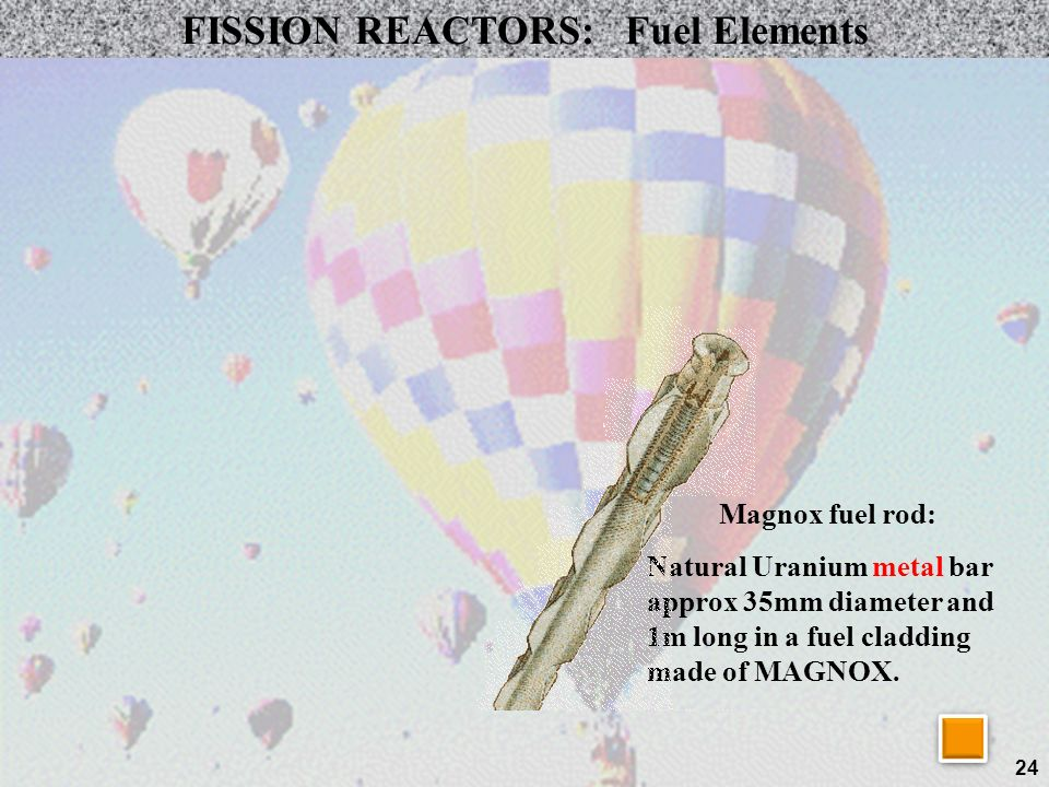 24 FISSION REACTORS: Fuel Elements Magnox fuel rod: Natural Uranium metal bar approx 35mm diameter and 1m long in a fuel cladding made of MAGNOX.