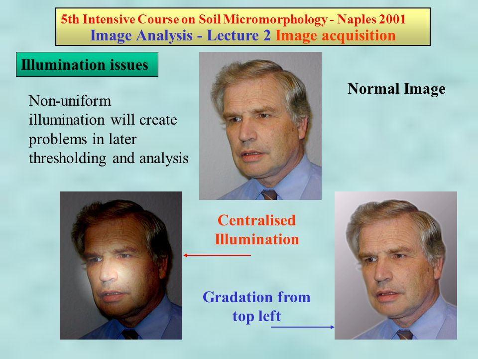 5th Intensive Course on Soil Micromorphology - Naples 2001 Image Analysis - Lecture 2 Image acquisition Illumination issues Non-uniform illumination will create problems in later thresholding and analysis Normal Image Centralised Illumination Gradation from top left