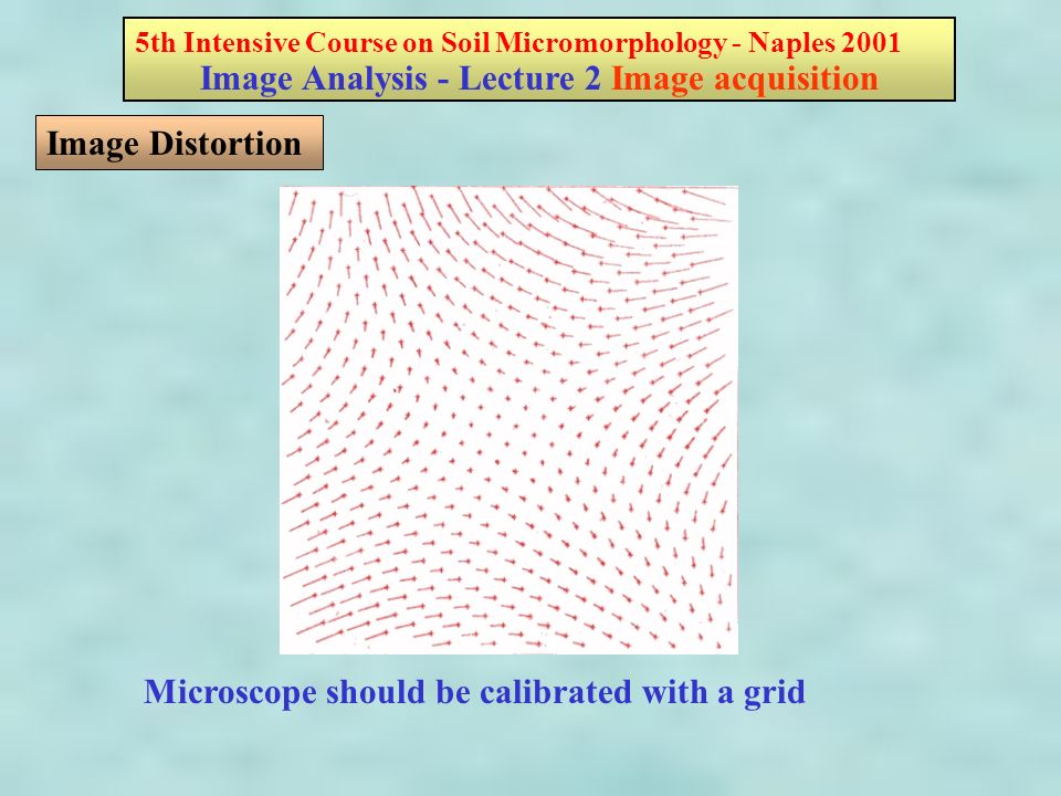 5th Intensive Course on Soil Micromorphology - Naples 2001 Image Analysis - Lecture 2 Image acquisition Image Distortion Microscope should be calibrated with a grid