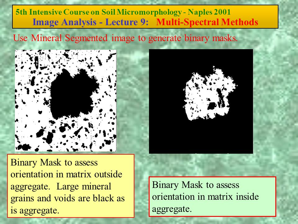 5th Intensive Course on Soil Micromorphology - Naples 2001 Image Analysis - Lecture 9: Multi-Spectral Methods Binary Mask to assess orientation in mat