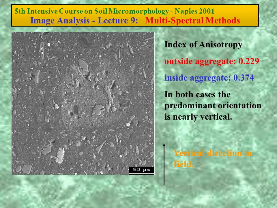 5th Intensive Course on Soil Micromorphology - Naples 2001 Image Analysis - Lecture 9: Multi-Spectral Methods Index of Anisotropy outside aggregate: 0.229 inside aggregate: 0.374 In both cases the predominant orientation is nearly vertical.