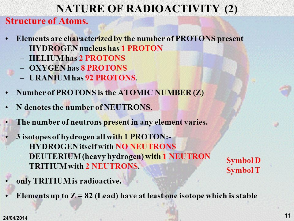 10 24/04/2014 NATURE OF RADIOACTIVITY (1) Structure of Atoms. Matter is composed of atoms which consist primarily of a nucleus of: –positively charged