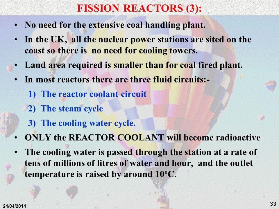 32 24/04/2014 FISSION REACTORS (2): Fuel Elements PWR fuel assembly: UO 2 pellets loaded into fuel pins of zirconium each ~ 3 m long in bundles of ~20