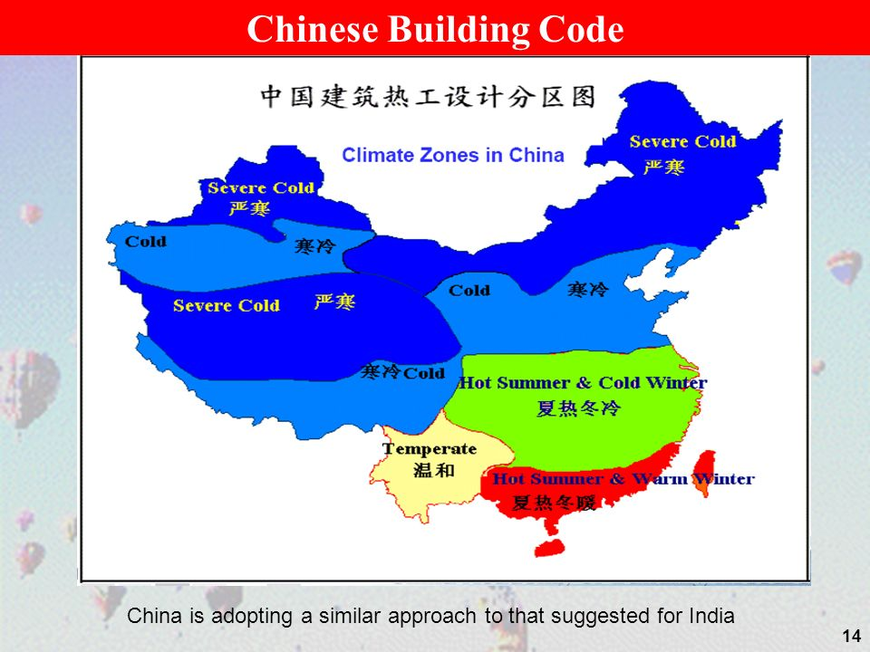 14 Chinese Building Code China is adopting a similar approach to that suggested for India