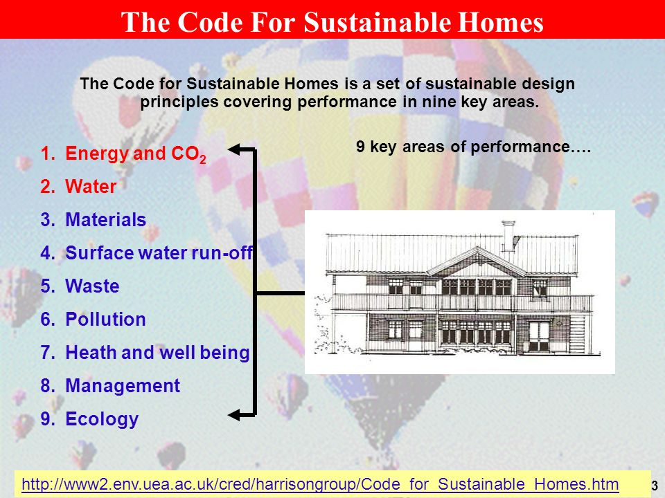23 The Code For Sustainable Homes The Code for Sustainable Homes is a set of sustainable design principles covering performance in nine key areas. 1.E