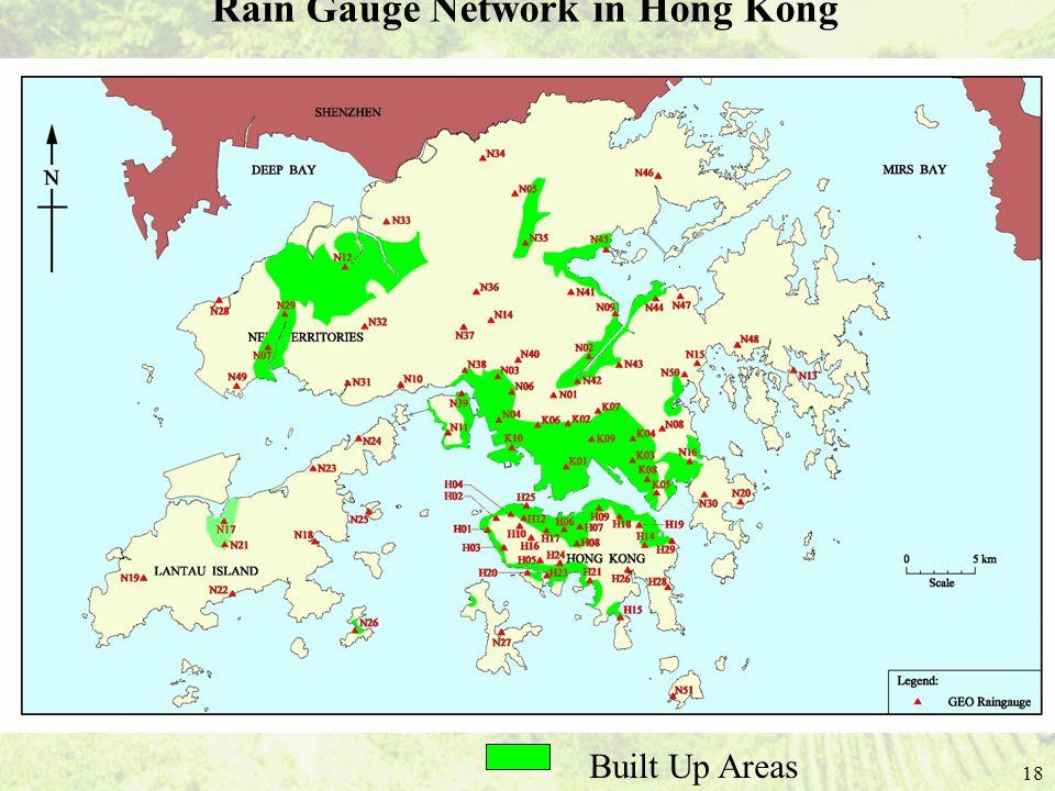 18 Rain Gauge Network in Hong Kong Built Up Areas