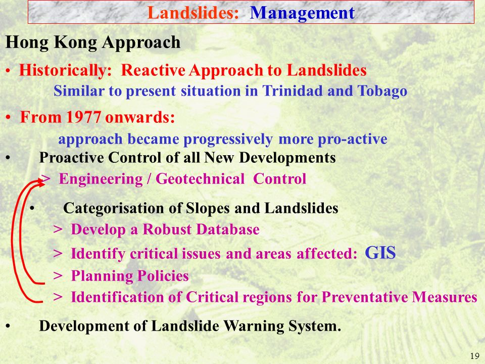19 Historically: Reactive Approach to Landslides Similar to present situation in Trinidad and Tobago From 1977 onwards: approach became progressively more pro-active Hong Kong Approach Landslides: Management Proactive Control of all New Developments > Engineering / Geotechnical Control Categorisation of Slopes and Landslides > Develop a Robust Database > Identify critical issues and areas affected: GIS > Planning Policies > Identification of Critical regions for Preventative Measures Development of Landslide Warning System.