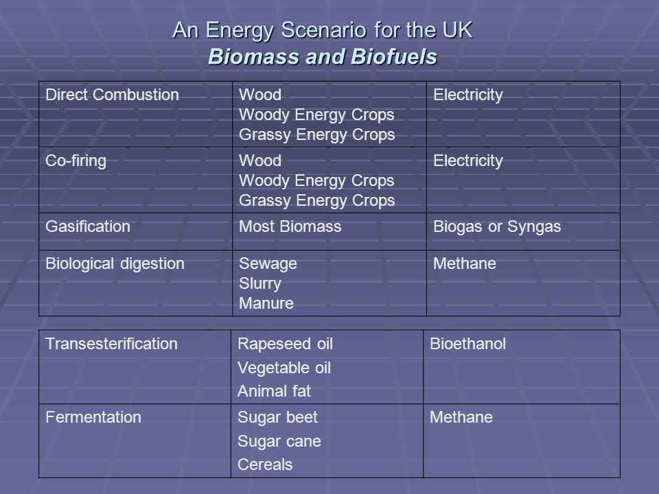 An Energy Scenario for the UK Biomass and Biofuels Direct CombustionWood Woody Energy Crops Grassy Energy Crops Electricity Co-firingWood Woody Energy