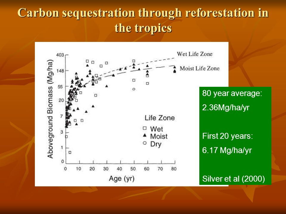 Carbon sequestration through reforestation in the tropics 80 year average: 2.36Mg/ha/yr First 20 years: 6.17 Mg/ha/yr Silver et al (2000)
