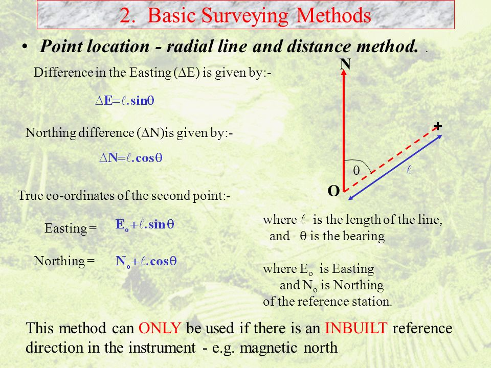Point location - radial line and distance method.. 2. Basic Surveying Methods Difference in the Easting ( E) is given by:- Northing difference ( N)is