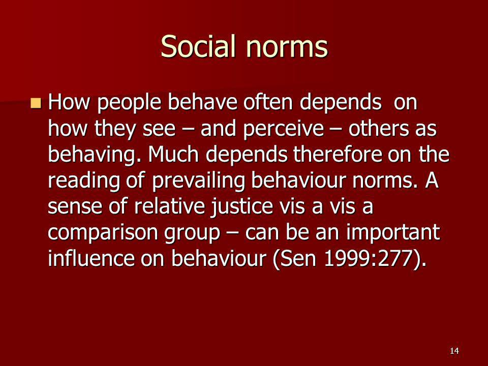 14 Social norms How people behave often depends on how they see – and perceive – others as behaving.
