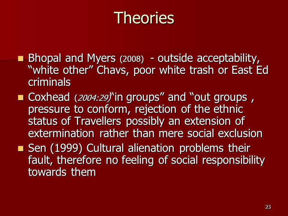 23 Theories Bhopal and Myers (2008) - outside acceptability, white other Chavs, poor white trash or East Ed criminals Bhopal and Myers (2008) - outside acceptability, white other Chavs, poor white trash or East Ed criminals Coxhead (2004:29) in groups and out groups, pressure to conform, rejection of the ethnic status of Travellers possibly an extension of extermination rather than mere social exclusion Coxhead (2004:29) in groups and out groups, pressure to conform, rejection of the ethnic status of Travellers possibly an extension of extermination rather than mere social exclusion Sen (1999) Cultural alienation problems their fault, therefore no feeling of social responsibility towards them Sen (1999) Cultural alienation problems their fault, therefore no feeling of social responsibility towards them