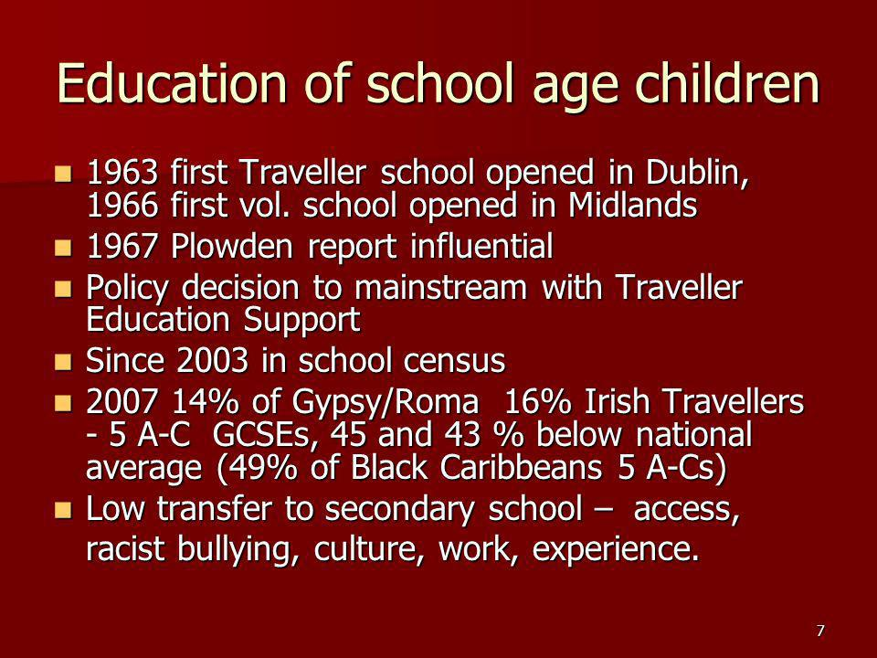 7 Education of school age children 1963 first Traveller school opened in Dublin, 1966 first vol.