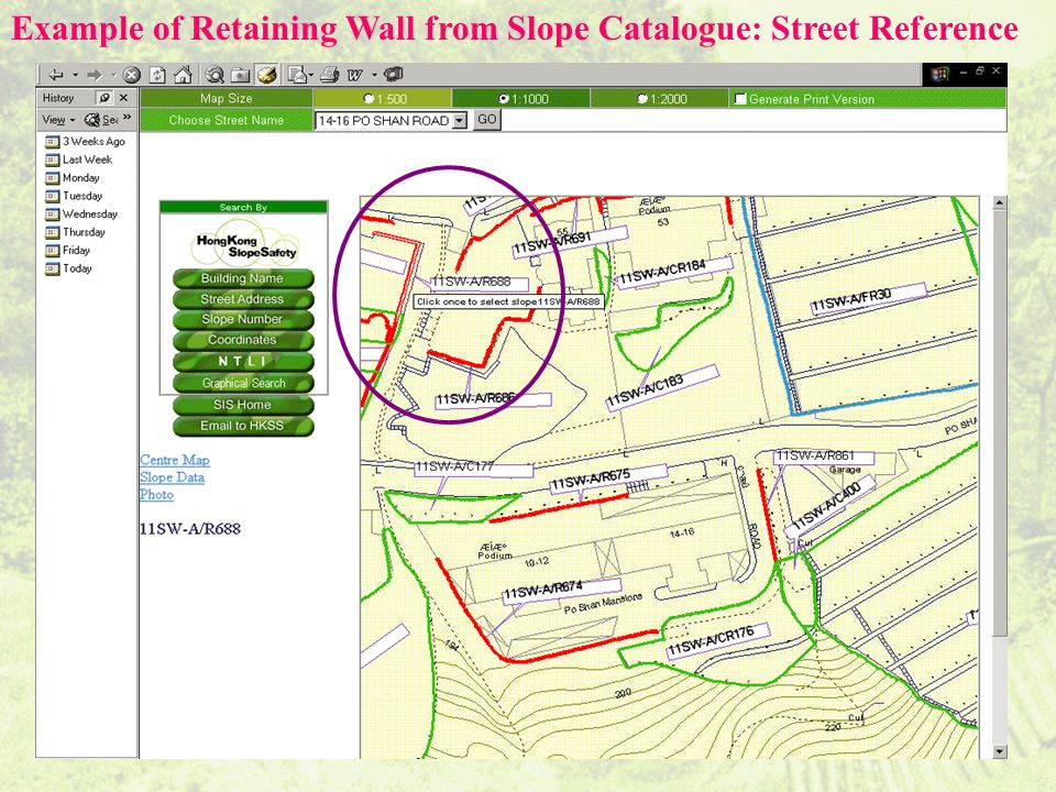 Example of Retaining Wall from Slope Catalogue: Street Reference
