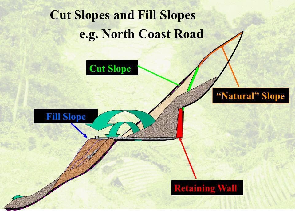 Cut Slopes and Fill Slopes e.g. North Coast Road Fill Slope Retaining WallNatural Slope Cut Slope