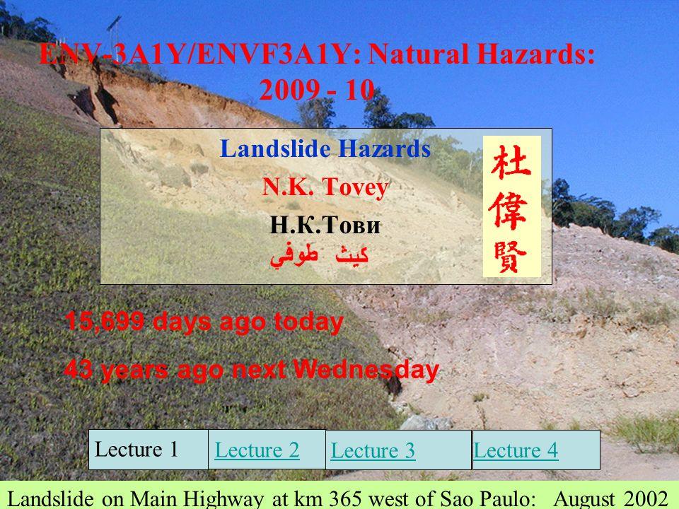 1 ENV-3A1Y/ENVF3A1Y: Natural Hazards: 2009 - 10 Landslide Hazards N.K.
