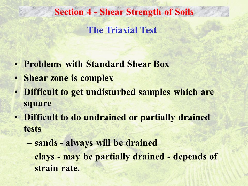 Problems with Standard Shear Box Shear zone is complex Difficult to get undisturbed samples which are square Difficult to do undrained or partially dr