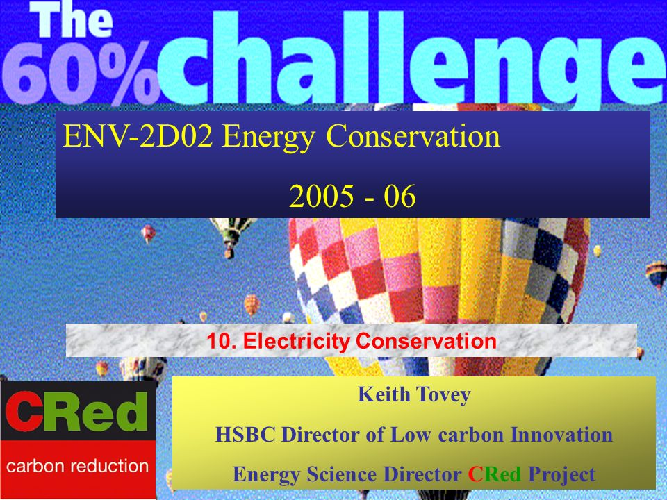 ENV-2D02 Energy Conservation Keith Tovey HSBC Director of Low carbon Innovation Energy Science Director CRed Project 10.
