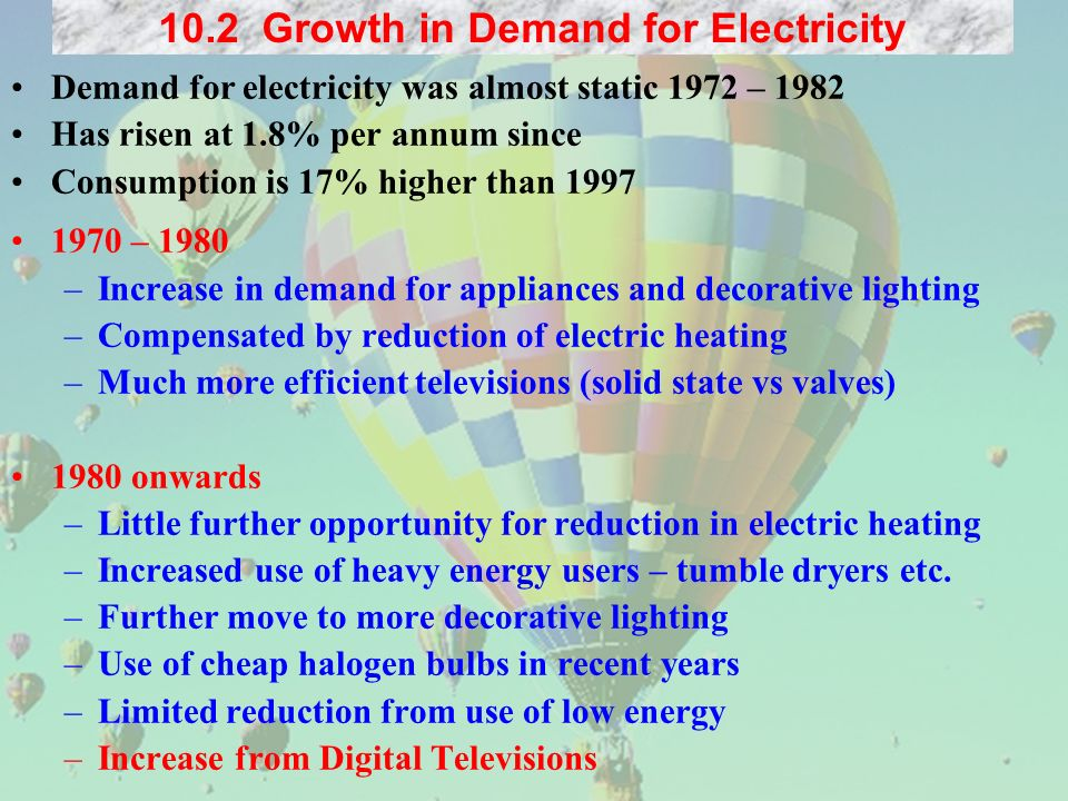 Demand for electricity was almost static 1972 – 1982 Has risen at 1.8% per annum since Consumption is 17% higher than – 1980 –Increase in demand for appliances and decorative lighting –Compensated by reduction of electric heating –Much more efficient televisions (solid state vs valves) 1980 onwards –Little further opportunity for reduction in electric heating –Increased use of heavy energy users – tumble dryers etc.