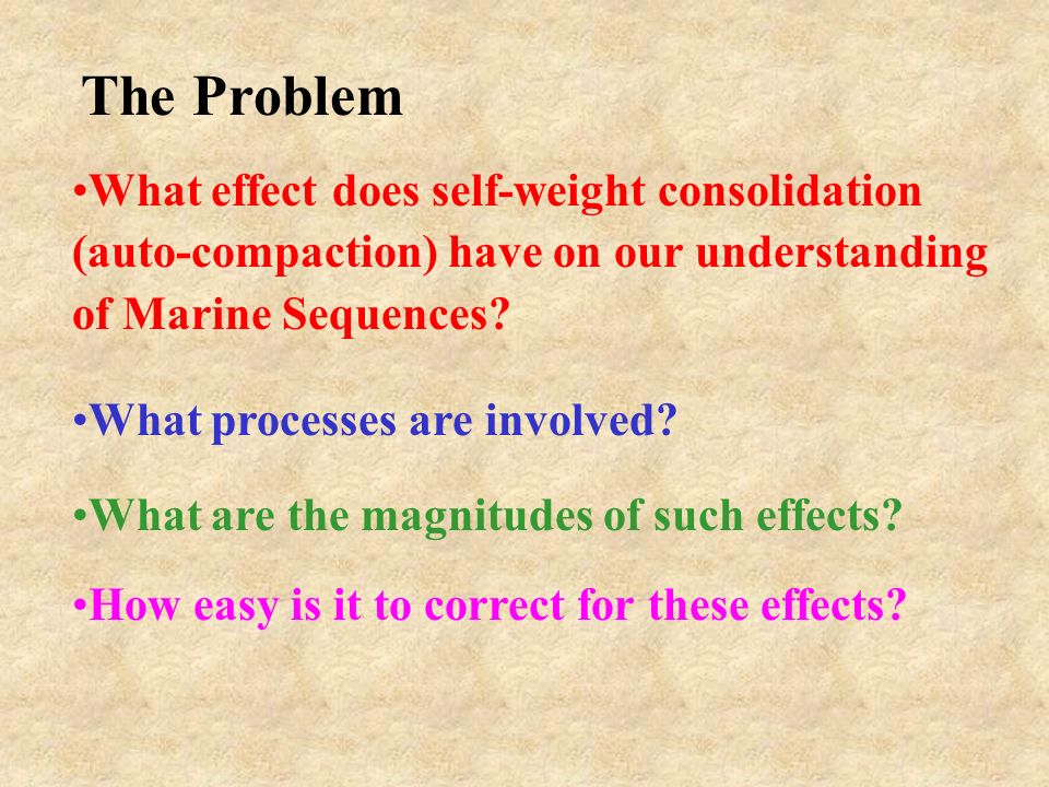 What effect does self-weight consolidation (auto-compaction) have on our understanding of Marine Sequences? What processes are involved? What are the