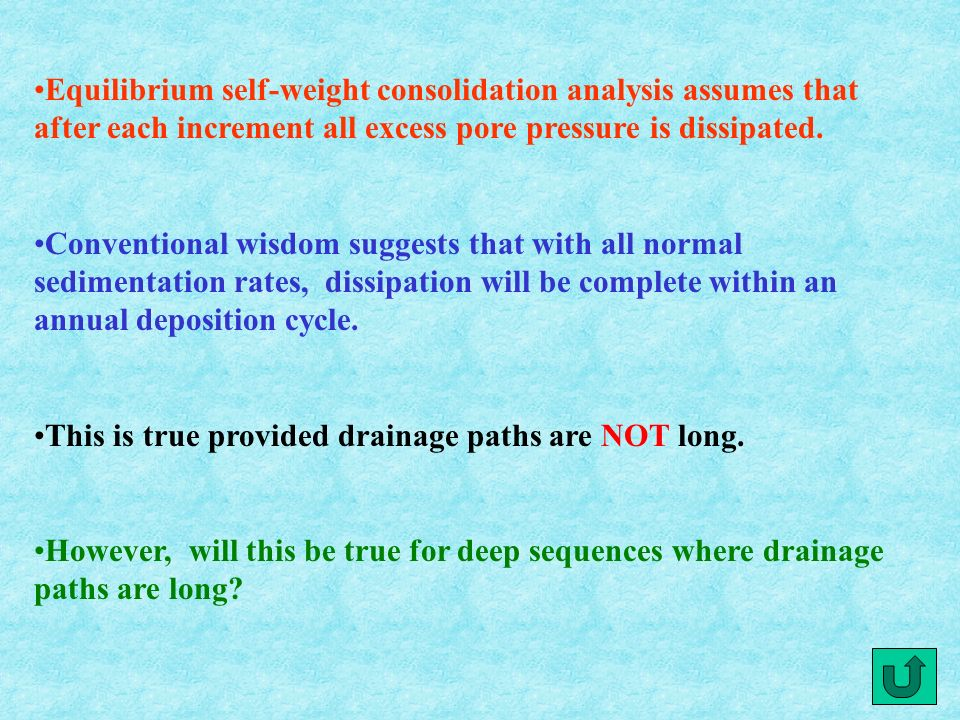 Equilibrium self-weight consolidation analysis assumes that after each increment all excess pore pressure is dissipated.