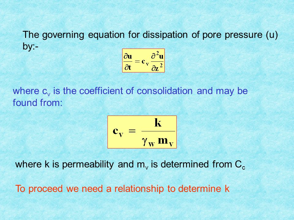 The governing equation for dissipation of pore pressure (u) by:- where c v is the coefficient of consolidation and may be found from: where k is permeability and m v is determined from C c To proceed we need a relationship to determine k