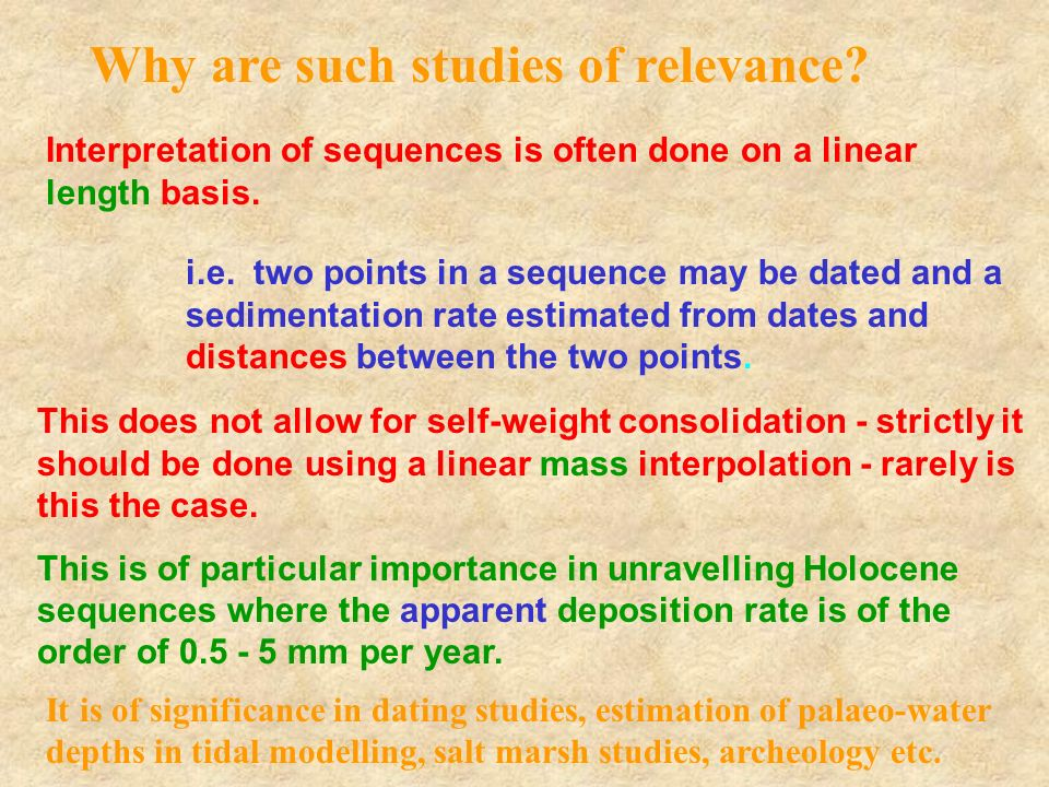 Why are such studies of relevance? Interpretation of sequences is often done on a linear length basis. i.e. two points in a sequence may be dated and
