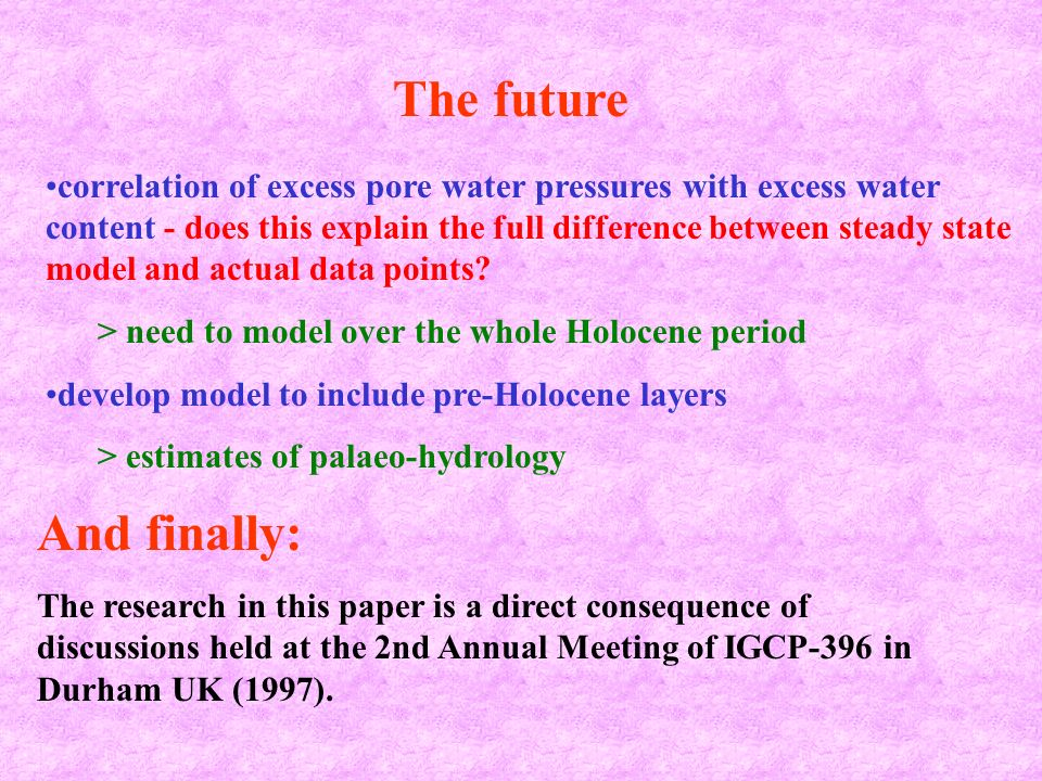 correlation of excess pore water pressures with excess water content - does this explain the full difference between steady state model and actual dat