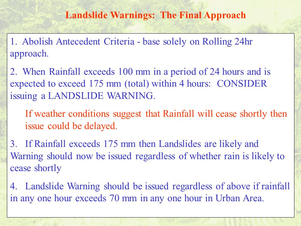 Landslide Warnings: The Final Approach 1.